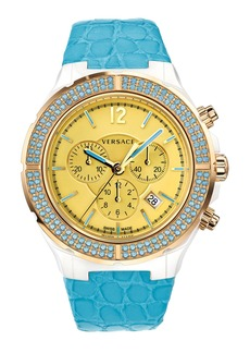 Versace 'DV One Cruise' Topaz Bezel Watch, 43mm