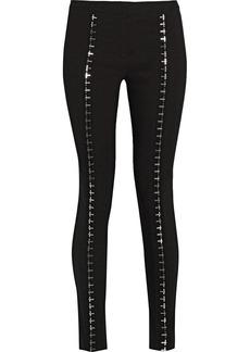 Versace Embellished linen-blend skinny pants