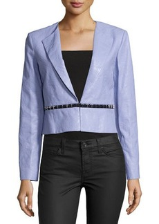 Versace Embossed Leather Rever Collar Jacket, Lilac