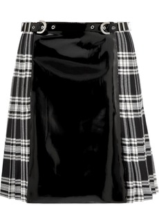 Versace Faux patent-leather and plaid wool skirt