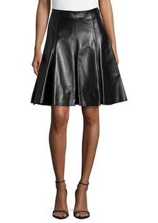 Versace Flare Leather Skirt, Black