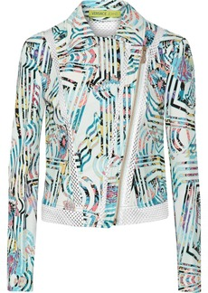Versace Jeans Mesh-trimmed printed cotton-blend jacket