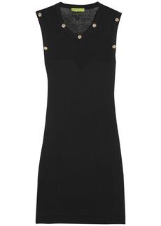 Versace Jeans Open-knit paneled stretch-ponte mini dress