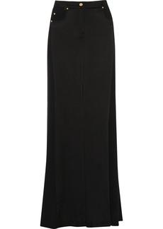 Versace Jeans Satin-paneled crepe maxi skirt