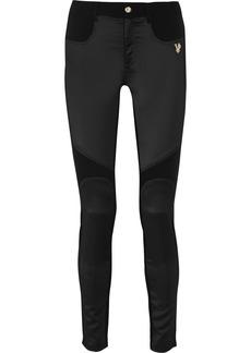 Versace Jeans Satin-paneled stretch-jersey skinny pants