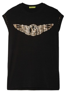 Versace Jeans Studded printed stretch-jersey T-Shirt
