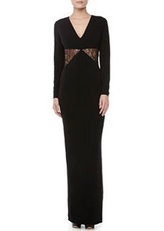 Versace Lace-Inset Long-Sleeve Gown