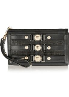 Versace Laser-cut leather clutch
