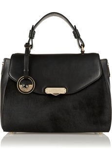 Versace Collection Leather and calf hair tote