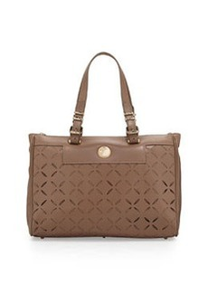 Versace Leather Laser-Cut Tote Bag, Beige