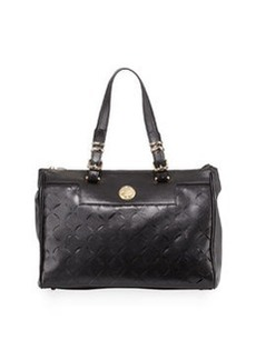 Versace Leather Laser-Cut Tote Bag, Black