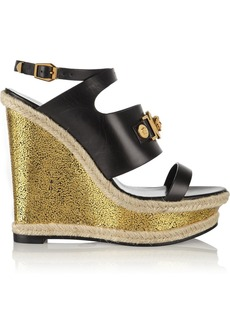Versace Leather wedge sandals