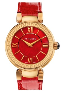 Versace 'Leda' Mother-of-Pearl Dial Leather Strap Watch, 38mm