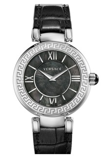 Versace 'Leda' Mother of Pearl Dial Leather Strap Watch, 38mm