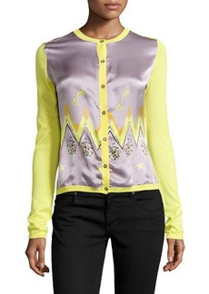 Versace Long-Sleeve Charmeuse & Knit Cardigan