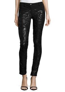 Versace Low-Rise Floral-Print Leather Pants, Black