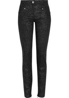 Versace Metallic embossed mid-rise skinny jeans