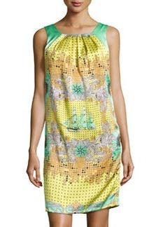 Versace Mixed-Print Silk Shift Dress