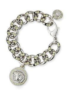 Versace Oversized Crystal Link Bracelet