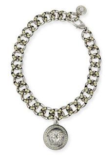 Versace Oversized Crystal Link Medallion Necklace
