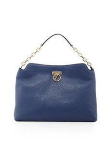 Versace Pebbled Leather Hobo Bag, Bright Blue