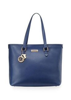 Versace Pebbled Leather Shopping Tote Bag, Bright Blue