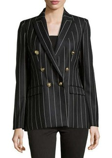 Versace Pinstripe Double-Breasted Blazer, Black