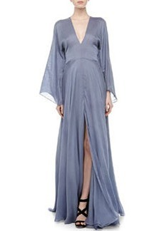 Versace Plunging V-Neck Silk Gown