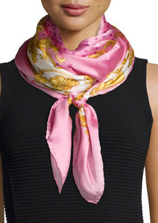Versace Polka-Dot Silk Scarf, Pink/Multi