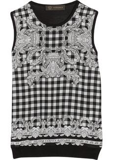 Versace Printed silk-paneled fine-knit silk top