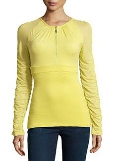 Versace Ruched Zip-Front Top, Lime
