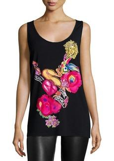 Versace Scoop-Neck Graphic-Print Tank Top, Black