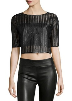 Versace Short-Sleeve Snakeskin Crop Top, Black