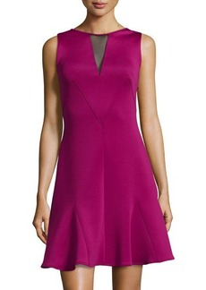 Versace Sleeveless Mesh Back Flounce Hem Dress, Burgundy