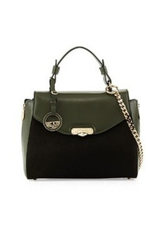 Versace Small Top Handle Leather Satchel Bag, Forest Green
