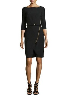 Versace Three-Quarter-Sleeve Knit Dress, Black