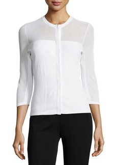 Versace Three-Quarter Sleeve Mesh Cardigan, White
