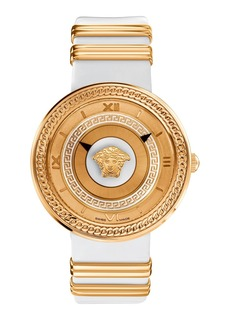 Versace 'V-Metal Icon' Leather Strap Watch, 40mm