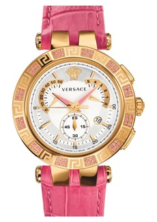Versace 'V-Race Precious' Chronograph Leather Strap Watch, 42mm
