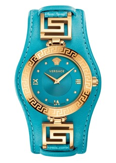 Versace 'V-Signature' Convertible Leather Strap Watch, 35mm