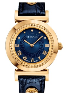 Versace 'Vanity' Leather Strap Watch, 35mm