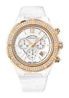 Versace Women's DV One Diamond-Bezel Watch, White