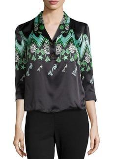Versace Zigzag Half-Button Blouse, Grass Green