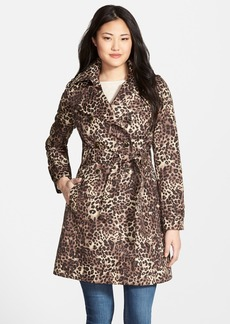 Via Spiga Animal Print Double Breasted Trench Coat (Regular & Petite)