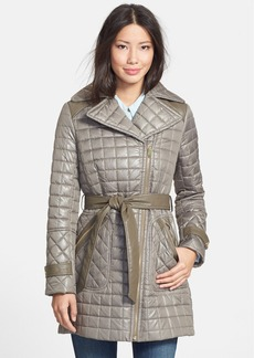 Via Spiga Asymmetrical Belted Quilted Walking Coat (Online Only)