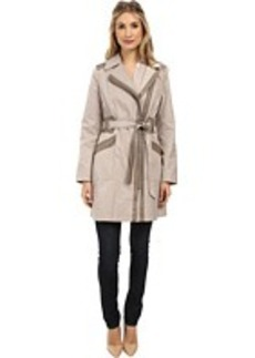 Via Spiga Asymmetrical Coat w/ Zipper Pockets & Pleather Detail