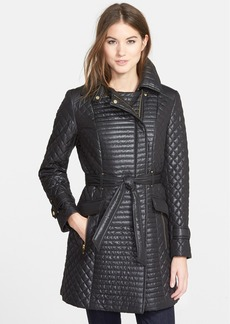 Via Spiga Belted Asymmetrical Quilted Coat