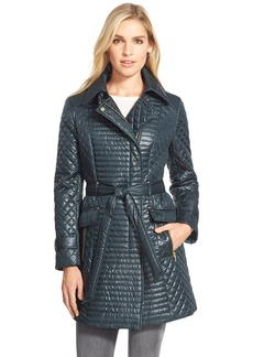 Via Spiga Belted Asymmetrical Quilted Trench Coat