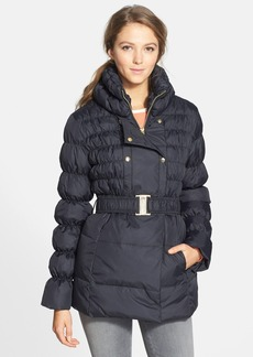 Via Spiga Belted Double Breasted Ruched & Quilted Coat (Online Only)