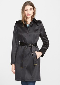 Via Spiga Belted Satin Trench Coat